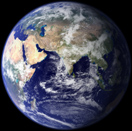 Earth at a scale of 100 km/pixel
